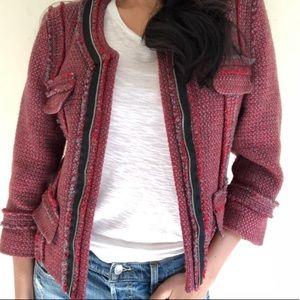 Hinge red tweed jacket sz XS NWT